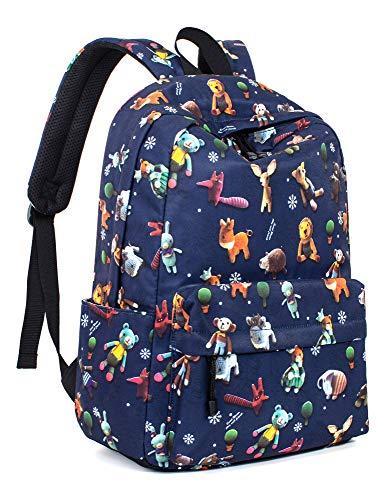 Leaper Cute Animals Backpack Girls School Backpack Bookbag Satchel Dark Blue