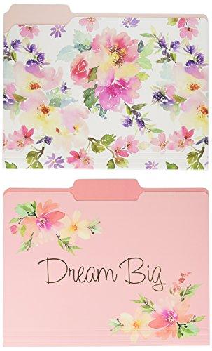 Graphique Watercolor Floral File Folder Set – File Set Includes 9 Folders and 3 Unique Floral Designs, Embellished w/Gold Foil on Durable Triple-Scored Coated Cardstock, 11.75