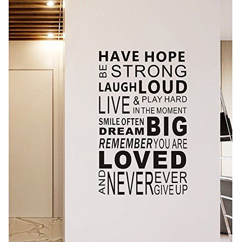 Inspirational Wall Decals Quotes,Word Wall Sticker Quotes,Family Inspirational Wall Art Sticker Vinyl Wall Mural Paint Decor by Delma(TM) (Motivational Wall Sticker Quotes)