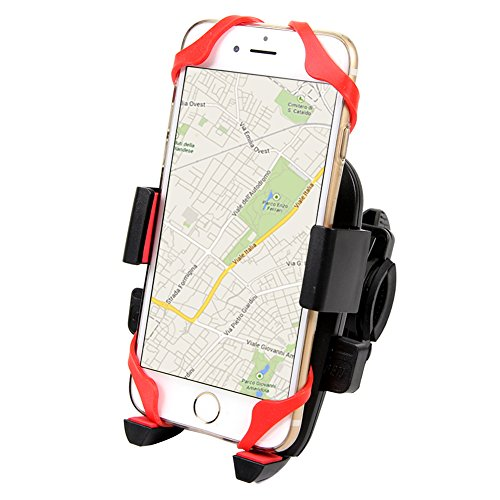 ETvalley Universal Bike & Motorcycle Mount Holder for Roll Bar, Handlebar, GPS and Most Smart Phones, Red/Black