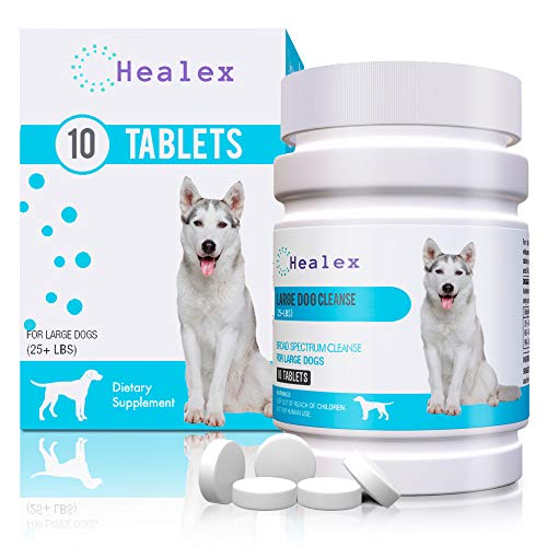 Healex 10 Tablets Large Dog (25+ LBS) Intestinal Cleanse | Dog Dewormer Alternative | Cleansing Tablets for Dogs, Promotes Intestinal Health | 10 Tablets, Works for Puppies | Helpful E-Book Included (Best Deworming Tablets For Dogs)