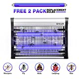 ISILER Electric Bug Zapper, Indoor Insect Killer, 20W Bulbs Mosquito Killer with UV Light Trap for Home Commercial Industrial Use, Free 2-Pack Replacement Bulbs Included