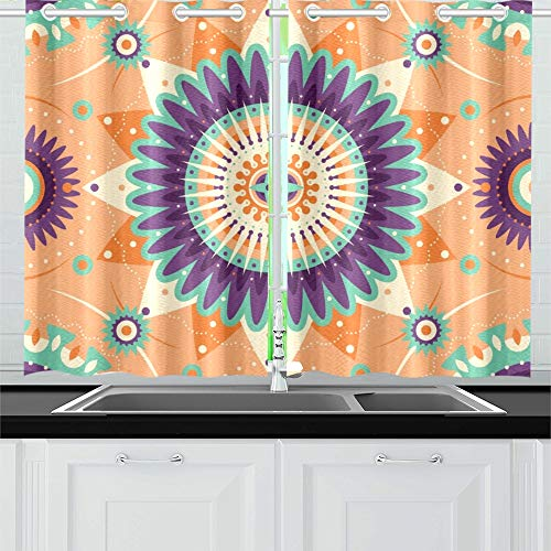 Two Arabesque Tier - YUMOING Decorative Arabesque Design Made Various Graphic Kitchen Curtains Window Curtain Tiers for Café, Bath, Laundry, Living Room Bedroom 26 X 39 Inch 2 Pieces