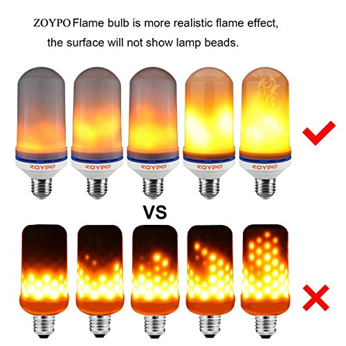 ZOYPO LED Flame Effect Light Bulb, E26 LED Flickering Fire-Effect Light Bulbs, 105pcs 2835 LED Beads (6.1 x 2.3 inches) Atmosphere Lighting Vintage Fire-Effect Light Bulb for Home/Business Decoration by ZOYPO (Image #3)