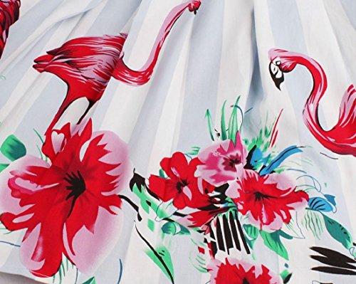 Tunica Del Coolred Floreale Mezzo Strisce A Vestito Pattern1 Altalena Stampa Manicotto donne nx1BT
