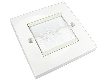 rhinocables embellecedor Placa de Pared Blanca con una Sola Entrada con cerdas Negras o Blancas Placa Frontal: Amazon.es: Electrónica