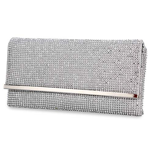 (TanpellWomen's Bling Soft Rhinestone Crystal Evening Clutch Bags with Detachable Chain Silver)