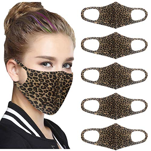 5PC Cotton Cute Face Mouth Covering- Reusable Cotton Comfy Breathable Outdoor Fashion Face Protections Man Woman