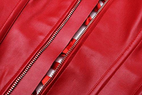 E-shine Co Corset En Cuir Sexy Des Femmes Avec G-string Rouge