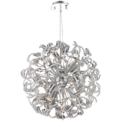 Worldwide Lighting Medusa Collection 25 Light Chrome Finish with Clear Crystal Chandelier 28