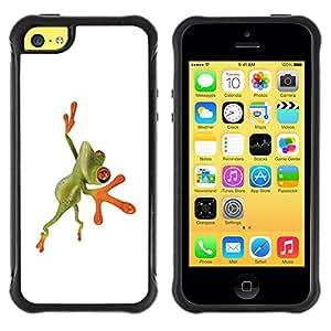 Suave TPU GEL Carcasa Funda Silicona Blando Estuche Caso de protección (para) Apple Iphone 5C / CECELL Phone case / / Orange Jungle Frog /