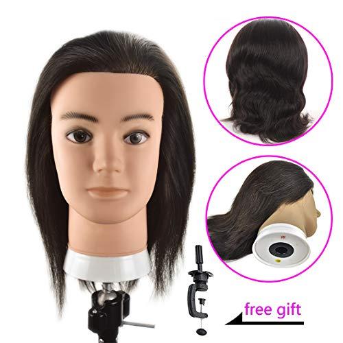 10 Male Mannequin Head 100% Human Hair Cosmetology Training Head Manikin Doll Head with Free Clamp(Real Human Hair)