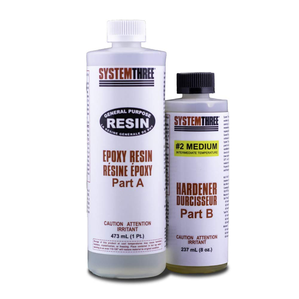 System Three 0102K40 General Purpose Epoxy Kit with #2 Medium Hardener, 1.5 Pints, Medium Amber by System Three (Image #1)