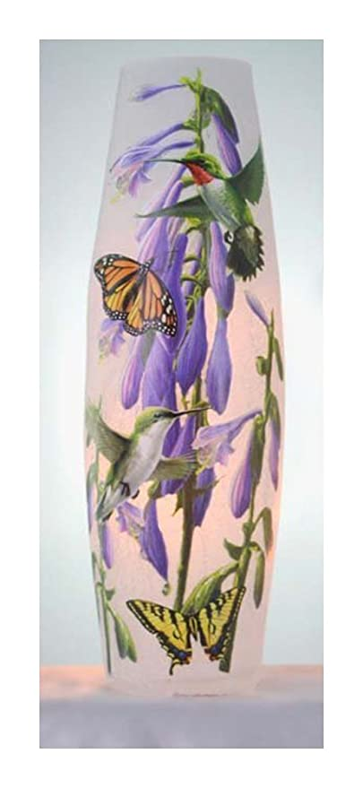 Amazon Stony Creek 1175 Tall Lighted Glass Vase Hummingbirds