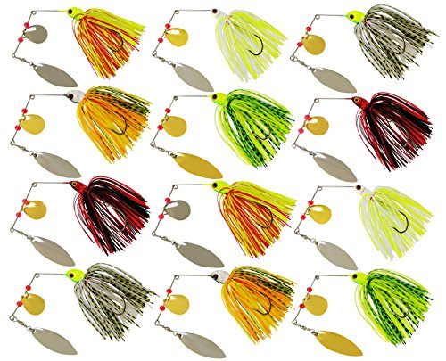 JSHANMEI 12pcs Fishing Lures Spinnerbait, Hard Metal Spinner Bait Kit Jigs Lure for Bass Pike Trout Salmon Freshwater Saltwater Fishing