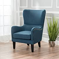 Sheffield Dark Blue Fabric Hi-Back Studded Chair