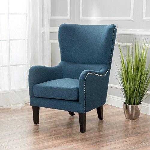 Sheffield Dark Blue Fabric Hi-Back Studded Chair