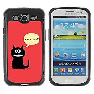 Hybrid Anti-Shock Defend Case for Samsung Galaxy S3 / Cat Asking Questions