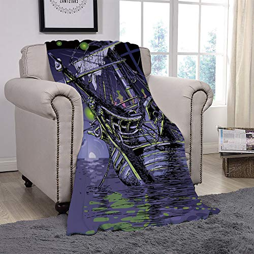 - SCOCICI Super Soft Throw Blanket/Pirate Ship,Ghost Ship on Fantasy Caribbean Ocean Adventure Island Haunted Vessel Decorative,Purple Lime Green/for Couch Bed Sofa for Adults Teen Girls Boys