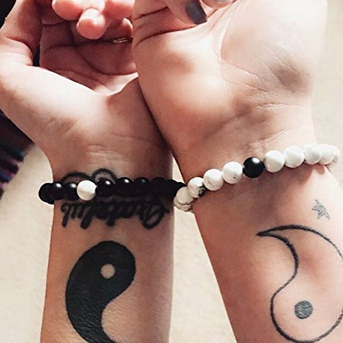 J.Fée Relationship Couples Bracelet His-and-Hers Matte Black Onyx White Howlite Distance Bracelet 7in&8in (7 inch White&Black) by J.Fée (Image #7)