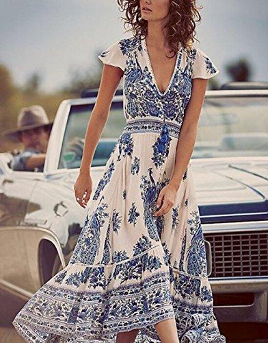 Womens Summer Boho Ethnic Chiffon Side Slit Evening Beach Dress Cover up Elastic Long Dress
