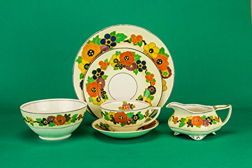 Charming Art Deco Saucer Floral Bowl Cup TEA SET Ceramic Plate Serving Grindley English 1930s LS