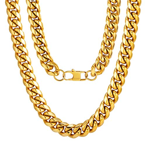 18K Gold Chain Necklace Stainless Steel Solid Heavy Thick Bold Necklace 80's Party Gift