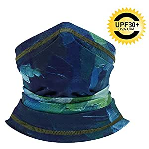CUIMEI Summer Face Mask - Fishing Scarf Mask for Sun UV Dust Protection Neck Gaiters for Cycling Running Hiking Cool Bandana for Summer, Unisex-Adult Mens, Dark Green