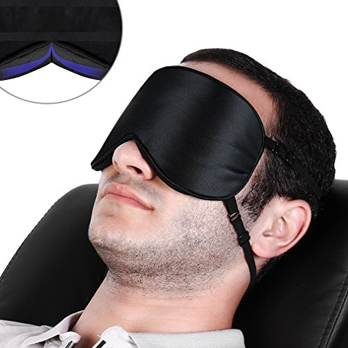 atural Silk Eye Mask Stable 2 Adjustable Straps and Comfortable Light Block Flap (Black/Blue) (Lite Flap)