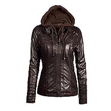 FOUNDO Women's Hooded Faux Leather Motorcyle Jacket Detachable Outerwear XS-7XL