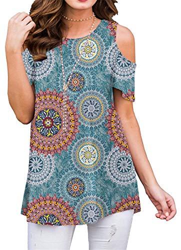 onlypuff Blue T Shirt Women Short Sleeve Comfy Summer Loose Fitting Tunics Cold Shoulder ()
