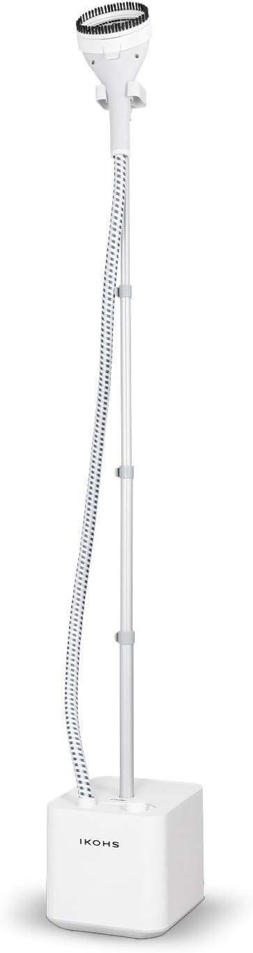 IKOHS STEAMLINE - Plancha de Vapor Vertical con Depósito 1.6 L, Vapor Continuo 32 g/min, Triple Opción Vertical, Vapor y Seco, 1600W, Apto Diferentes Tejidos y Prendas, Anti-Quemaduras (Blanco)