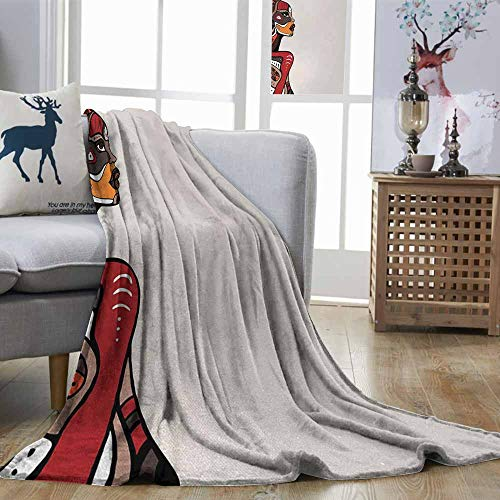 Zmstroy Lightweight Blanket African Profile of African Beauty Totem Ethno Fashion Girl with Mask Tattoos Illustration Multicolor Warm and Cosy W51 xL60 (Black And White Full Sleeve Tattoo Designs)