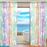 SAVSV Window Sheer Curtains Panels Window Treatment Set Voile Drapes Tulle Curtains White Unicorns On Colorful Stripes 78 Inches Long For Living Room Bedroom Girl's Room 2 Panels