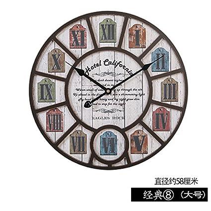 OLILEIO El Salón Reloj de Pared Reloj Digital Creative Roma Restaurante cafetería Retro Decoración de Pared