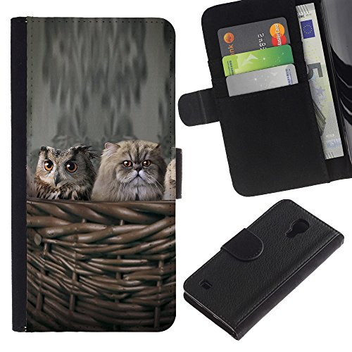 EuroCase - Samsung Galaxy S4 IV I9500 - owl cat nest kitten Persian kitten - Cuero PU Delgado caso cubierta Shell Armor Funda Case Cover