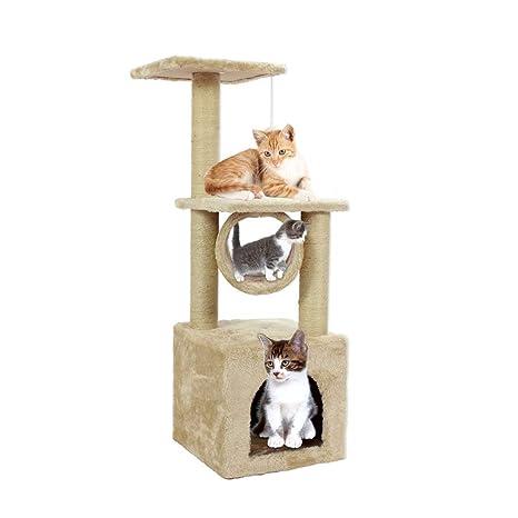 Homgrace Árbol para Gatos Juguete Rascador de Color Beige para Que los Gatos para Relajarse, Jugar y Descansar