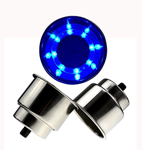 Posa 8 LED Blue Stainless Steel Cup Drink Holder with Drain for Marine Boat Rv Camper (8 LED 2 Pcs)