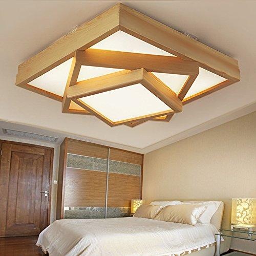 KHSKX Modernes, minimalistisches Holz- LED Deckenleuchte Lampen wohnzimmer schlafzimmer Studie versprechen Lampe 63cm
