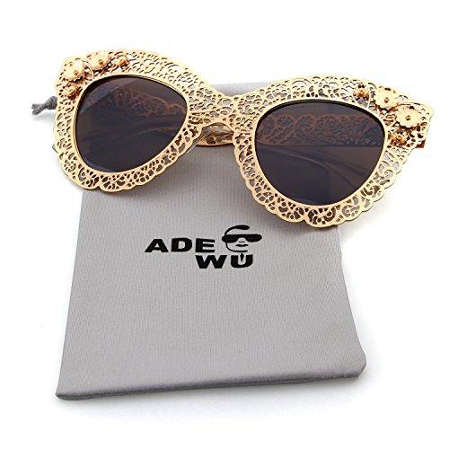 Guoxuan Women's Pierced Carving Lace Metal Flower Cateye Sunglasses - You Can Buff Glass