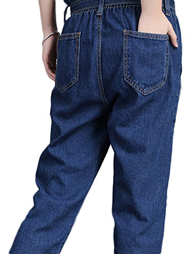 remiendo vaqueros pantalones ocasionales de de Idopy la Pantalones moda de de las Azul mujeres los moda flojos Exvfgqvwz