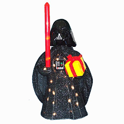 Kurt Adler Star Wars Darth Vader Light-Up Tinsel Lawn Decor, 28-Inch