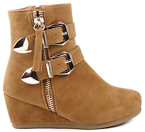JJF Shoes Peggy Kids Tan Dual Gold Buckle Ankle Strap Decor Zipper Dress Booties-1