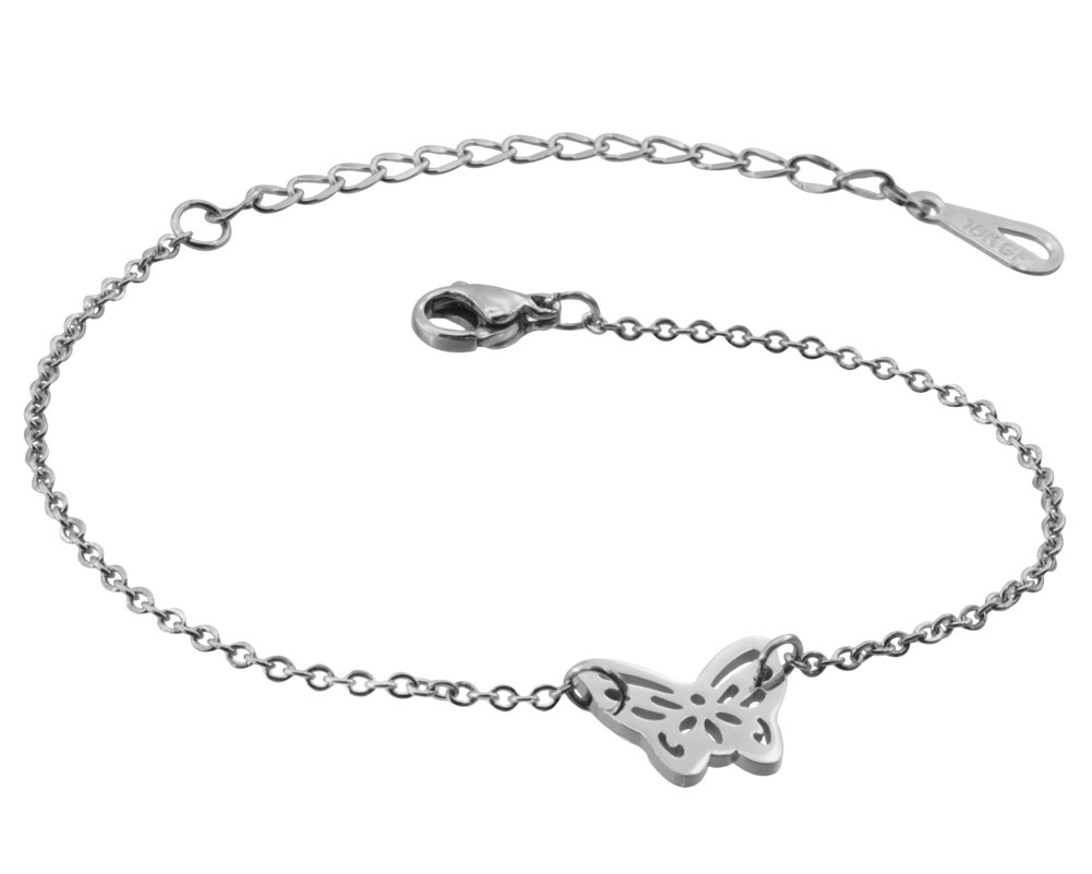 WDSHOW Ankle Bracelet for Women Girls Butterfly Anklets Foot Jewelry Barefoot Sandals Silver-Tone