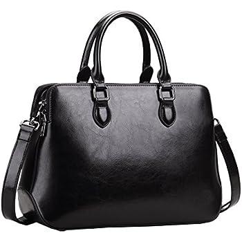 Heshe Leather Womens Handbags Totes Top Handle Shoulder Bag Satchel Ladies  Purses (Black-r) d89dca381f