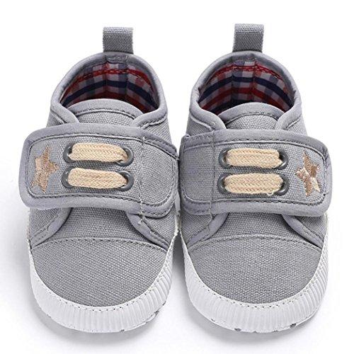 Sunnyoyo 0-2 Jahre alt Neugeborenen Baby Mädchen Jungen Kinderbett Leinwand Schuhe Weiche Sohle Anti-Slip Sneakers Grau