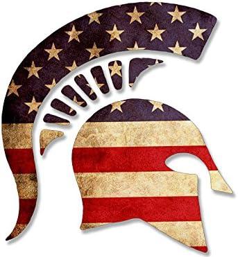 American Vinyl Lado Gran Vista Casco Espartano en Forma de Etiqueta engomada de la Bandera Americana: Amazon.es: Coche y moto