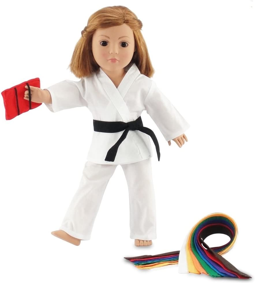 "18 Inch Doll Clothes for My Life and American Girl Dolls | 18"" Doll Karate Outfit, Includes All 9 Color Belt 