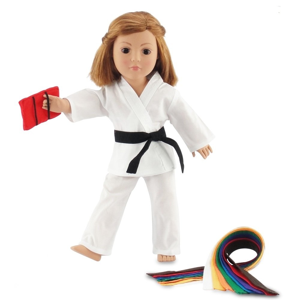Emily Rose 18'' Doll Clothes | 18'' Doll Girl/Boy Karate Outfit | Fits 18 Inch American Girl Doll | Includes 18'' Accessories and All 9 Color Belts | Gift Boxed! by Emily Rose