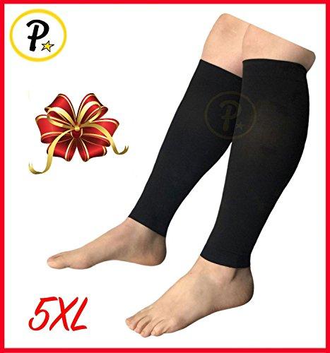 Presadee Wide Shin Calf BIG TALL SUPER SIZE 20-30 mmHg Medical Compression Energize Leg Fatigue Circulation Support Sleeve (Black, 5XL)